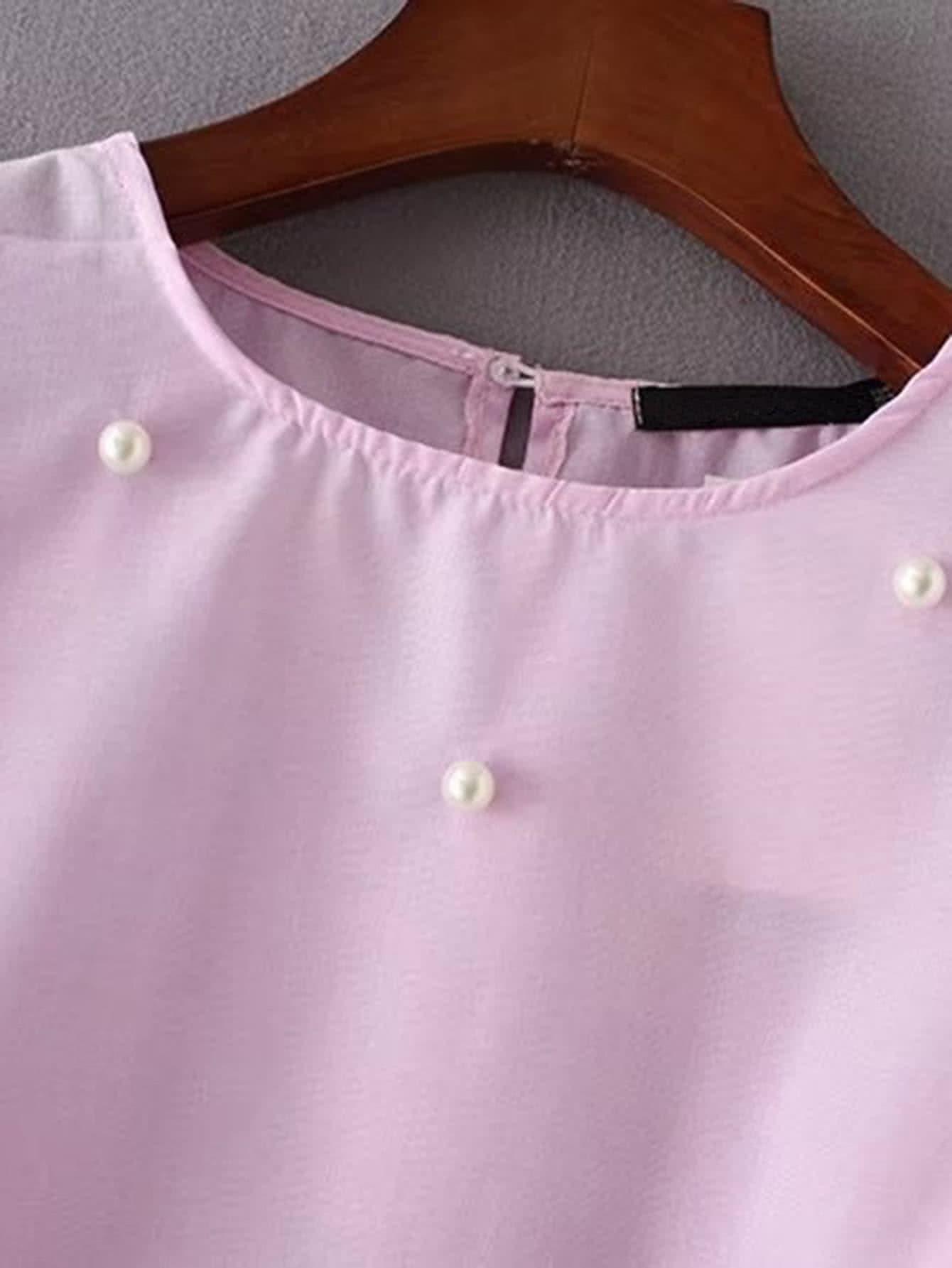 Bell Sleeve Pearls Embellished Top