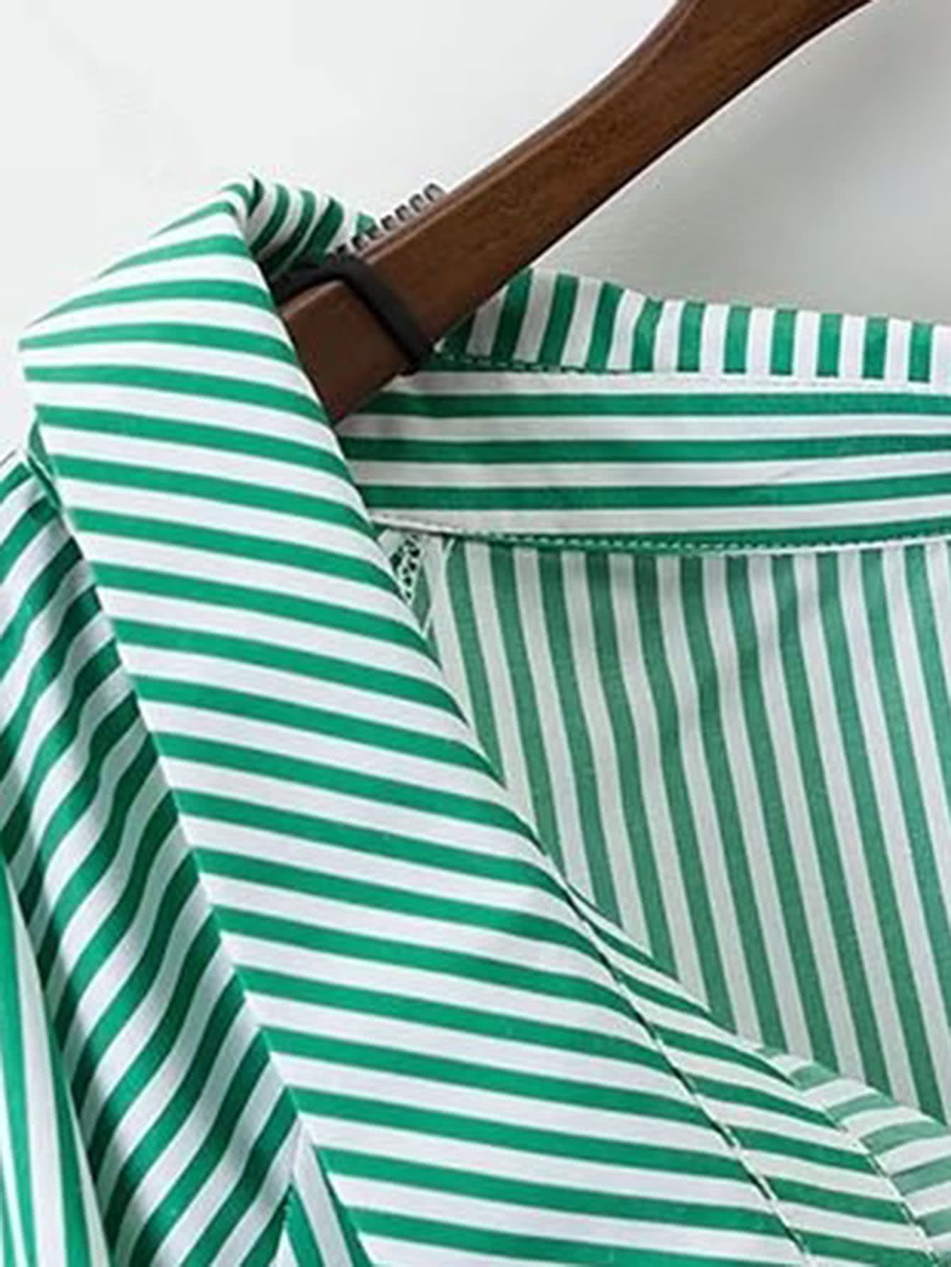 Vertical Striped Tunic Blouse