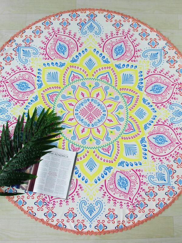Lotus Flower Print Crochet Trim Round Beach Blanket Shein