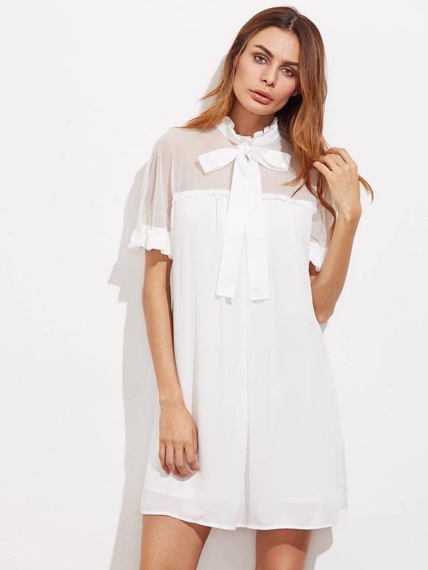 Kleid mit Band vorn, Schulter aus Netzstoff und Falten - German ...