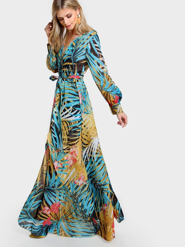 51f7edf60b Long Sleeve Tropical Print Maxi Dress BLACK BLUE | SHEIN UK