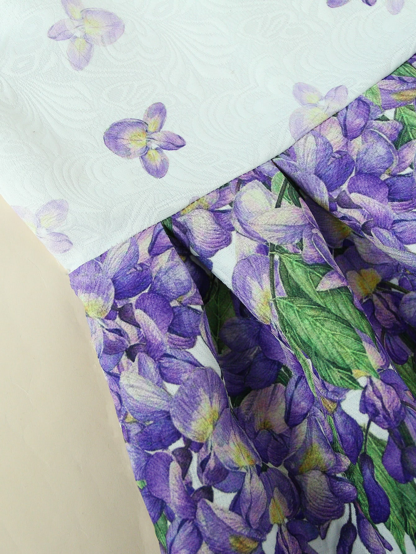 Wisteria Print Embossed Fit & Flare Dress