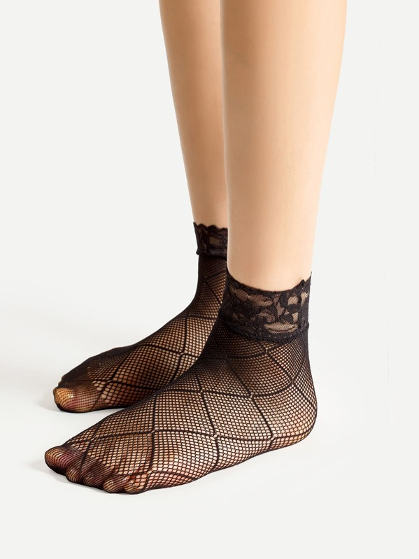 97922fe5a554 Lace Trim Fishnet Ankle Socks 4 Pairs
