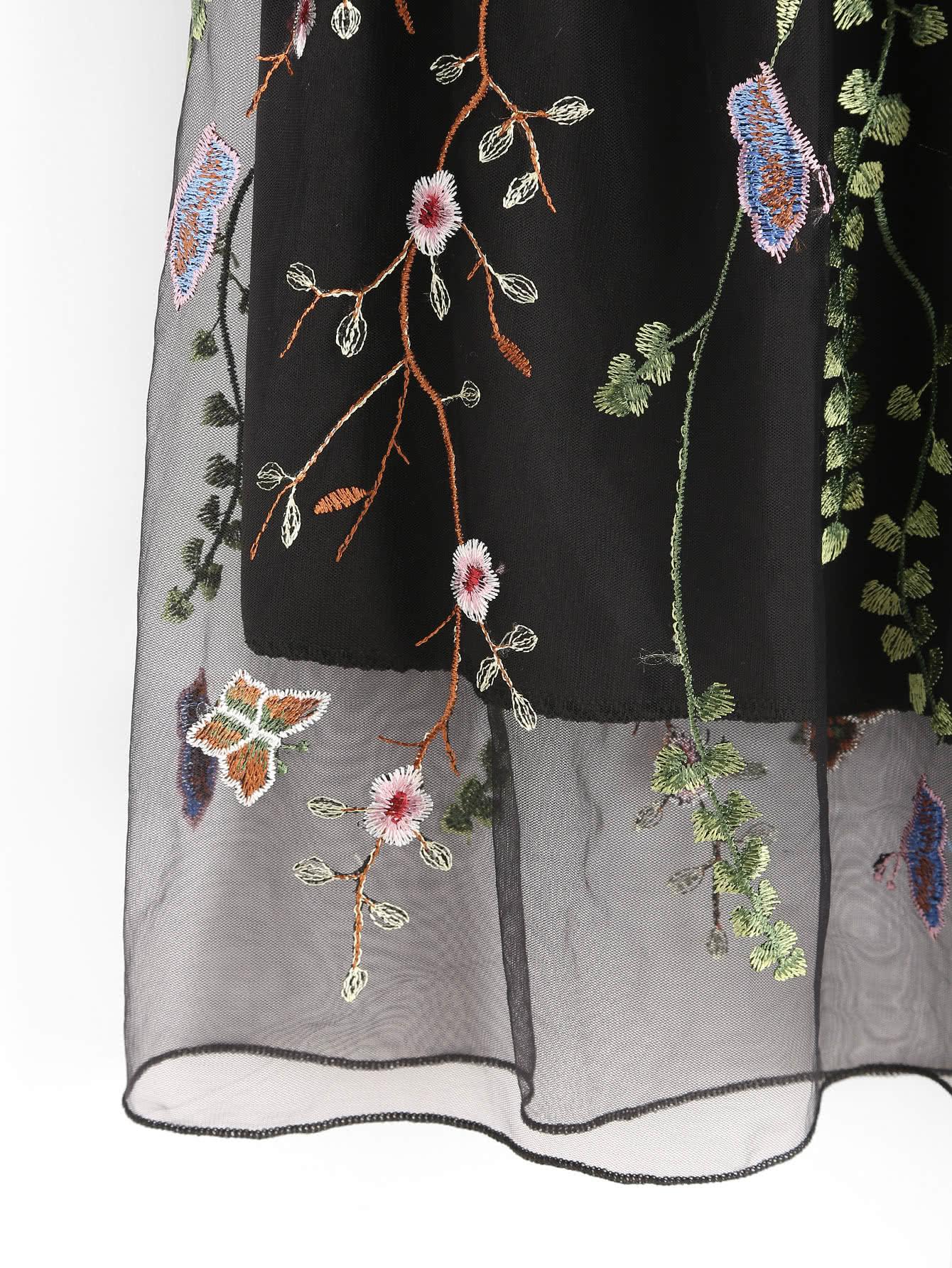 0518116c3 All Over Flower Embroidered Mesh Overlay Skirt | SHEIN UK
