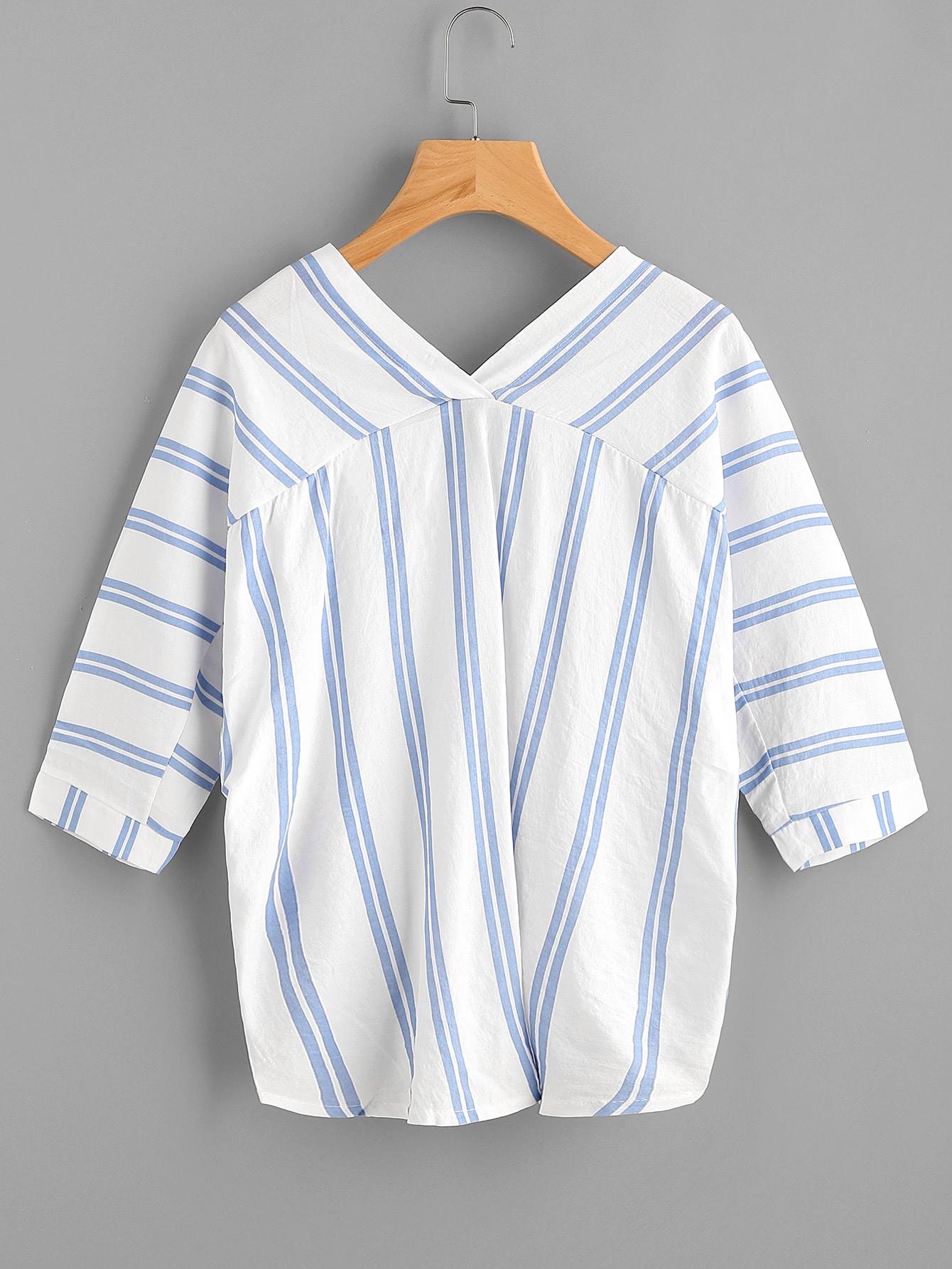 V-neckline Striped Blouse