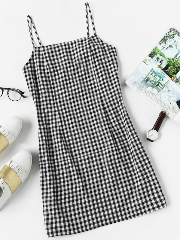 Gingham Print Cami Dress, Black and white