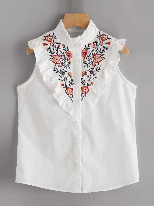3eec65a5a7a43 Frill Trim Floral Embroidered Yoke Sleeveless Blouse
