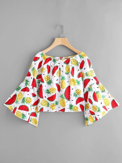 Boat Neckline Fruits Print Bell Sleeve Crop Top