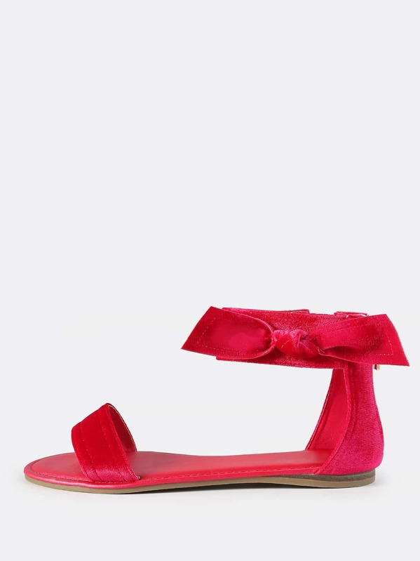 fd5942413504ea Velvet Side Bow Sandals HOT PINK -SheIn(Sheinside)