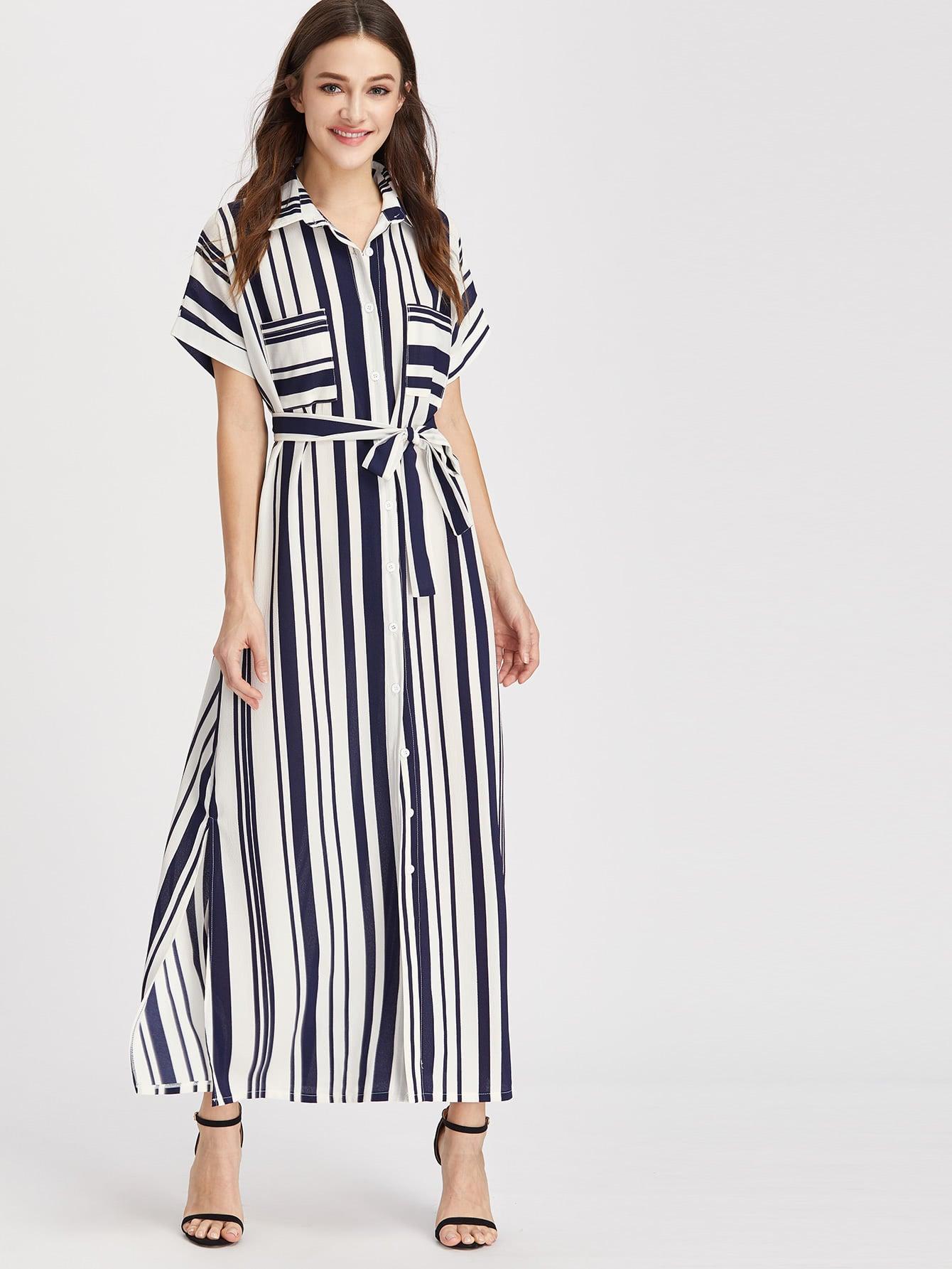 Striped self tie shirt dress shein sheinside for Striped tie with striped shirt
