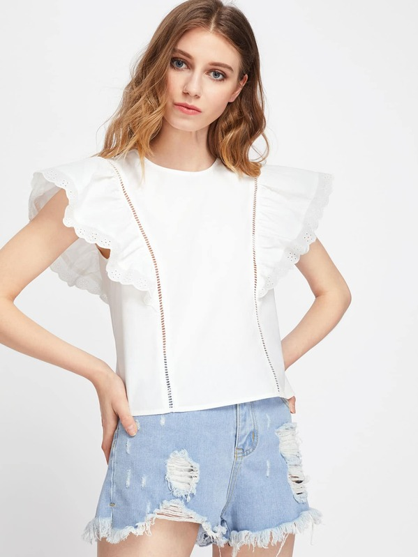 6e5e581263b075 Ladder Lace Panel Eyelet Embroidered Flutter Sleeve Top | SHEIN
