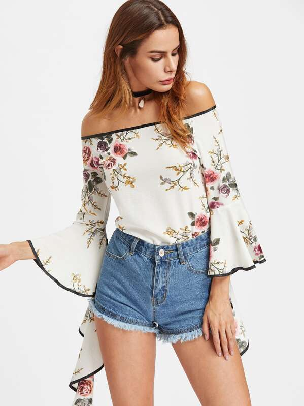 f7d7697d0cec5 Bardot Floral Print Contrast Trim Flare Sleeve Top