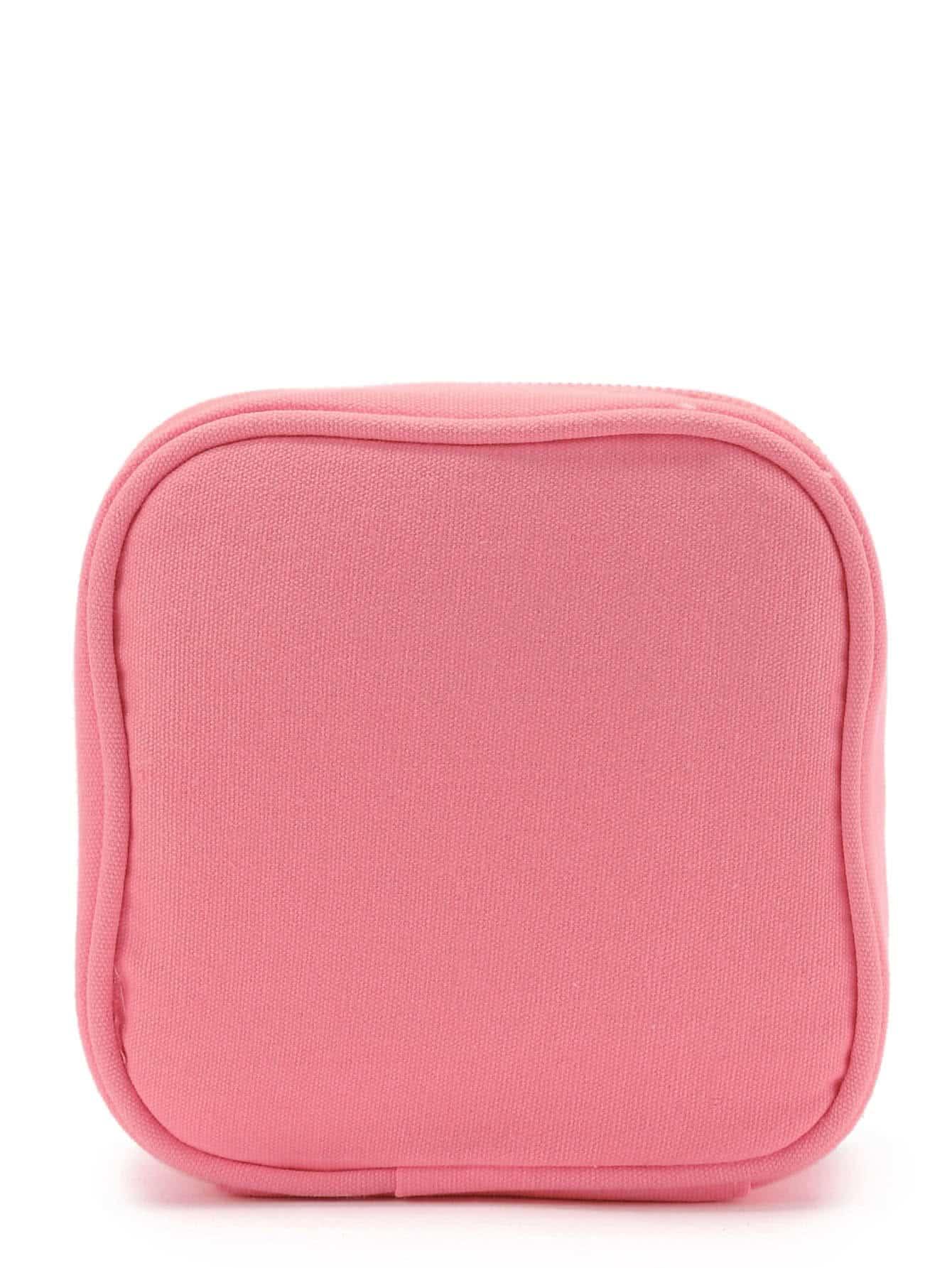 Patch Detail Makeup Cube Pouch