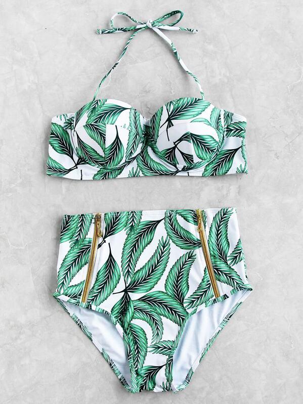 Set Bikini Con Alto Talle Estampado De ARc354qjL