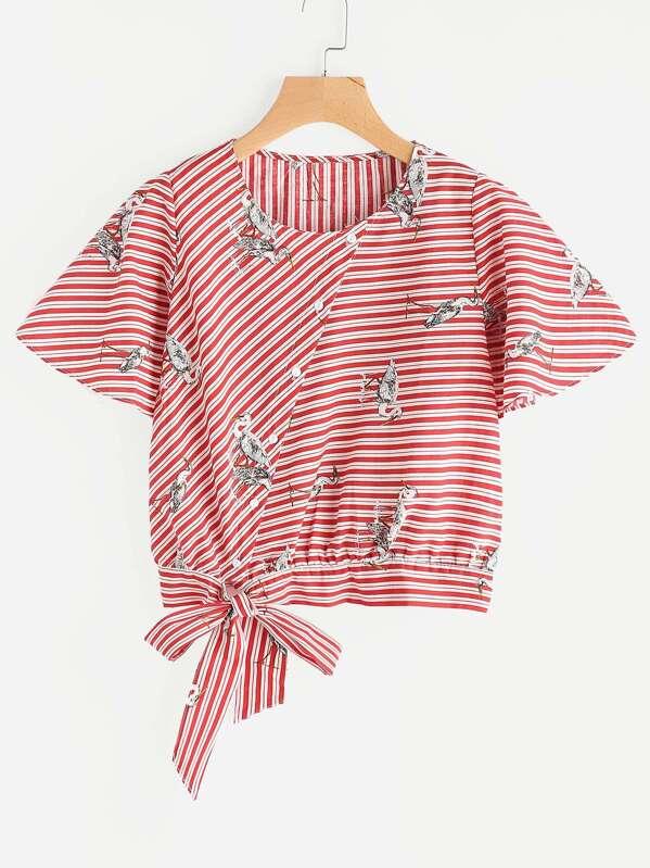 2083bc4f49cb92 Crane Print Striped Tie Hem Button Front Top