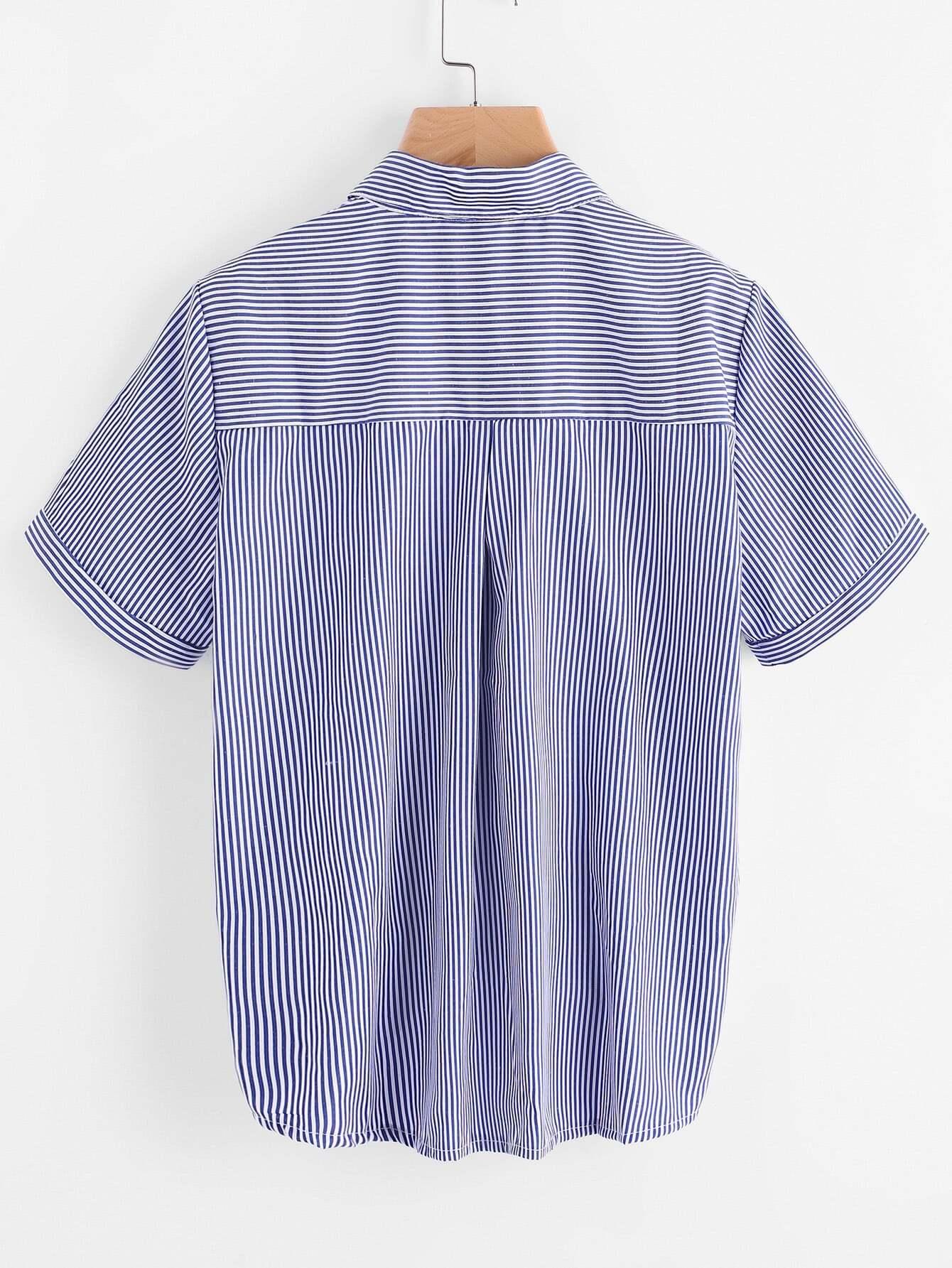 Embroidery Tie Hem Striped Shirt Shein Sheinside