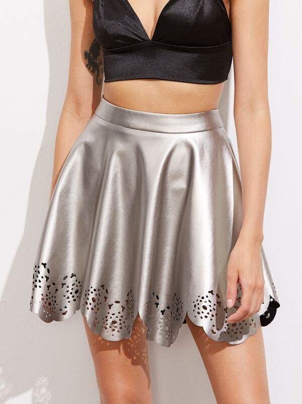 d334ece9c74 Laser Cut Scallop Hem Metallic Faux Leather Skirt