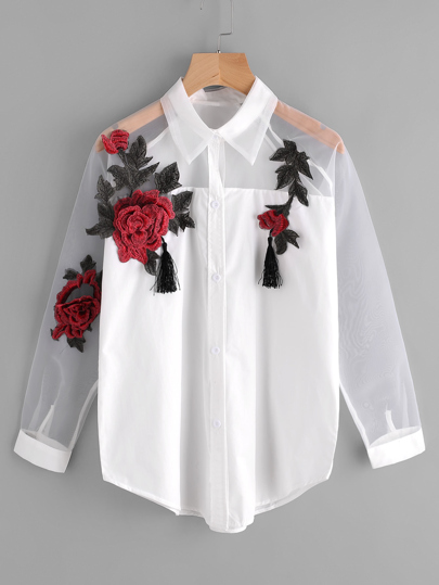 483d4774f3c668 Floral Applique Mesh Panel Tassel Detail Shirt