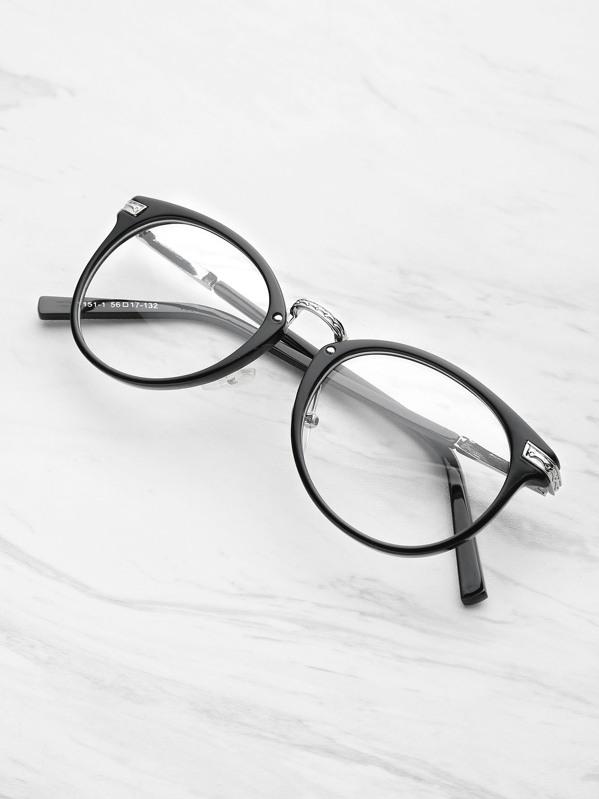 4c0df2b1f7eb Black Frame Metal Arm Clear Lens Glasses -SheIn(Sheinside)