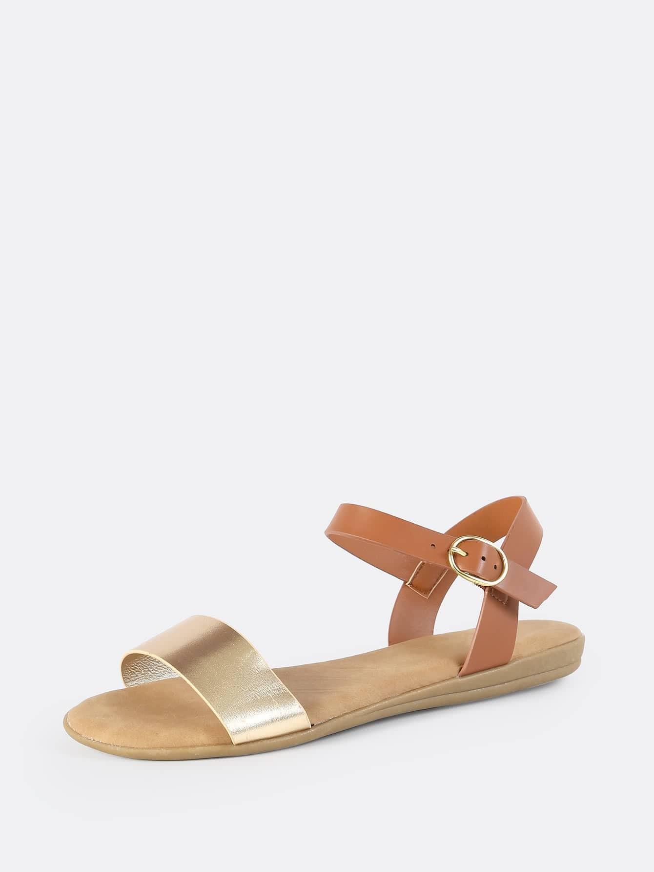 695b4f80ae1 Metallic Faux Leather Flat Sandals GOLD -SheIn(Sheinside)