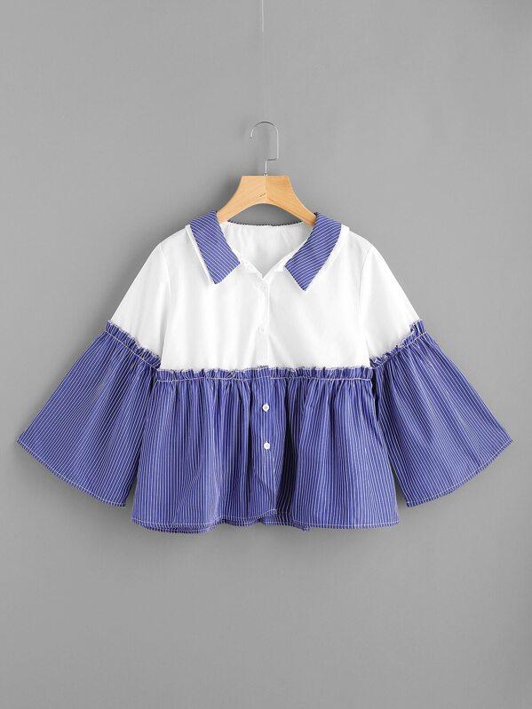 badc106a433e64 Bluse mit Doppelkragen und Glockärmeln | SHEIN