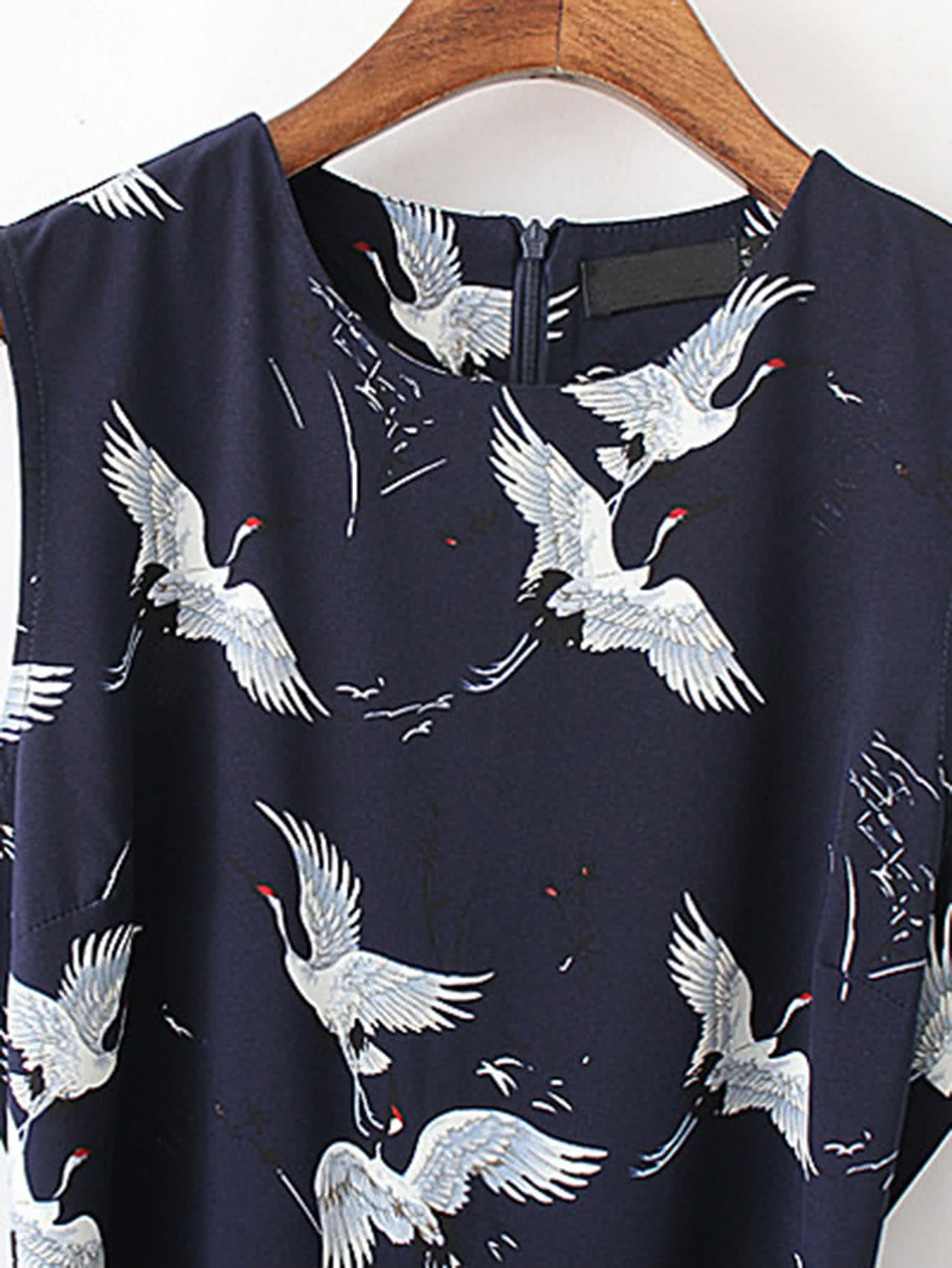 Cranes Print Tie Waist Zipper Back Jumpsuit