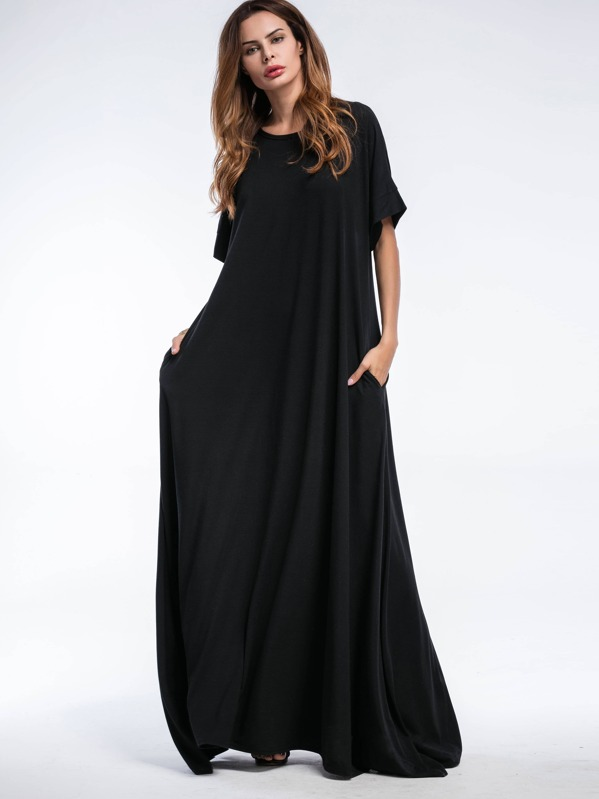 d0c340cf162f Shift Full Length Dress With Pockets | SHEIN