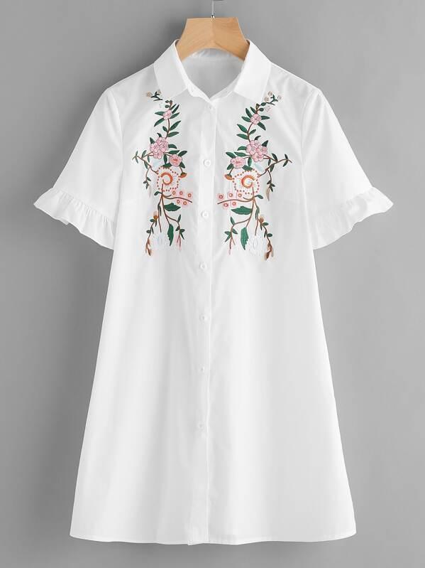 af863f1262b65c Blossom Embroidered Ruffle Sleeve Shirt Dress