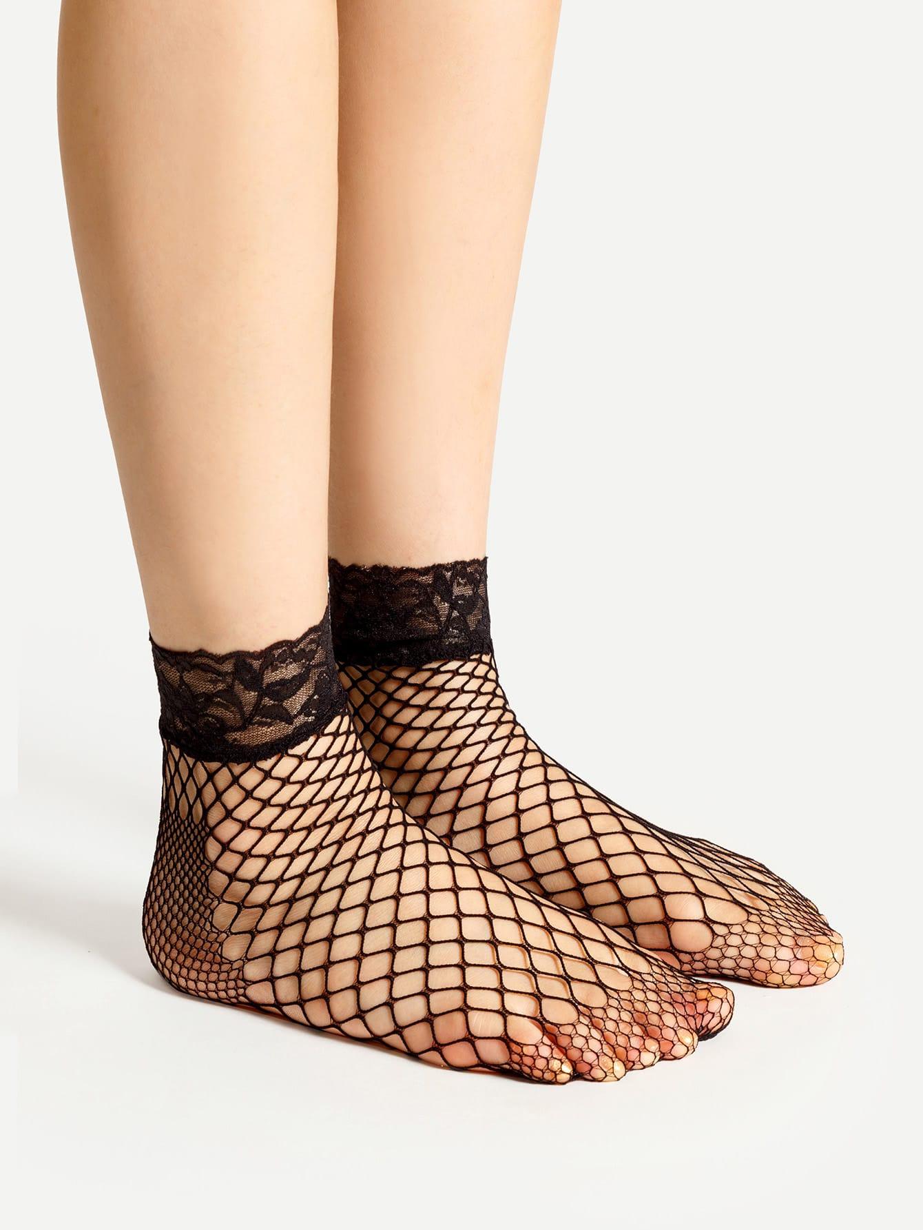 Lace Trim Fishnet Ankle Socks 4 Pairs