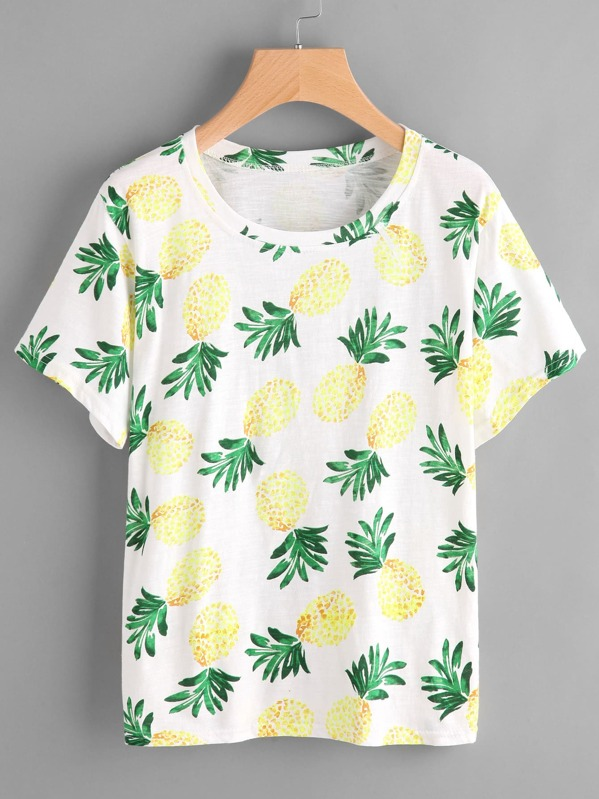 014e2865b24 Pineapple Print Tee -SheIn(Sheinside)