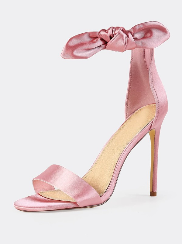 d79c314890a Side Bow Satin Ankle Strap Heels DUSTY PINK