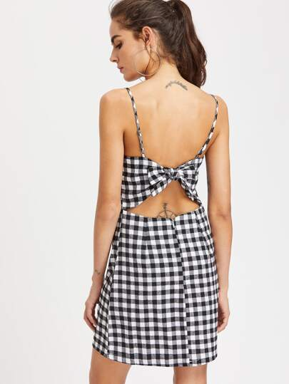 Gingham Bow Tie Back Cami Dress Shein Sheinside