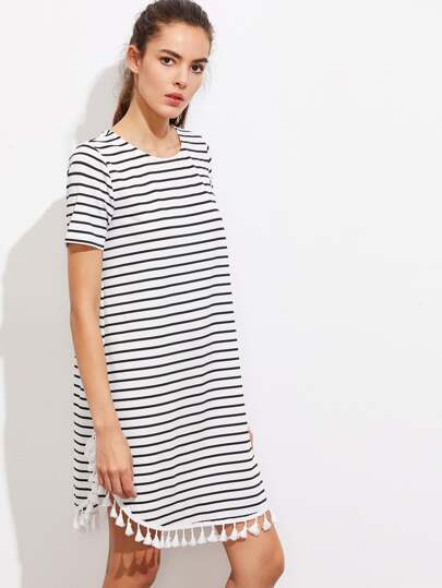 Tassel Trim Dolphin Hem Striped Tee Dress