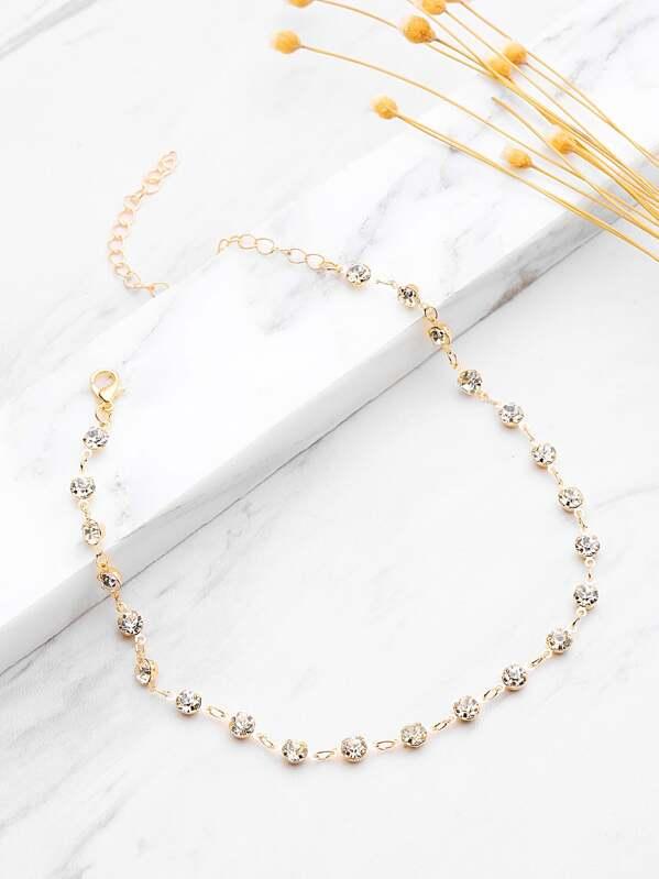 a2576dc75de0 Rhinestone Delicate Chain Choker -SheIn(Sheinside)