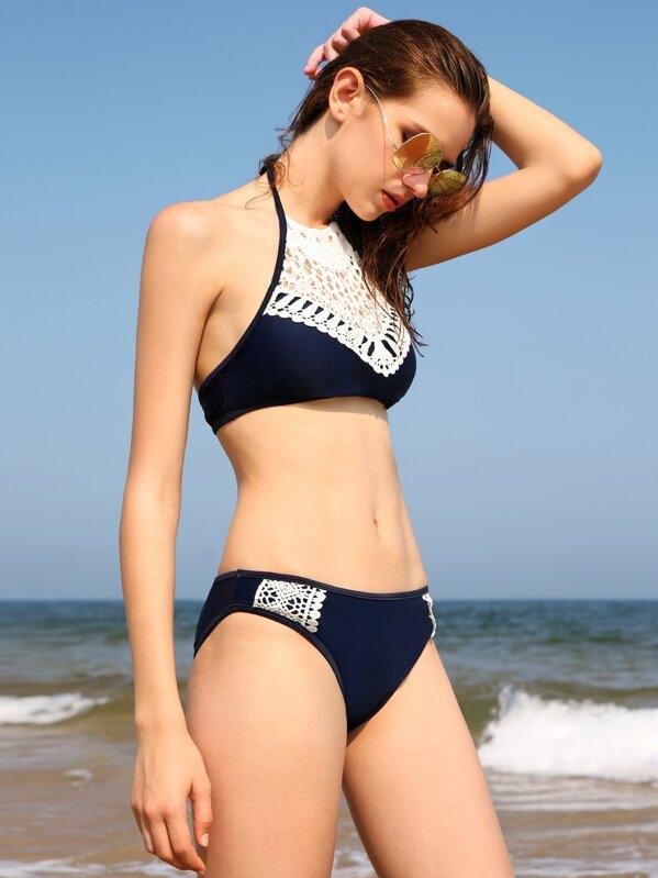 Contrast Crochet Halter Bikini Set Shein