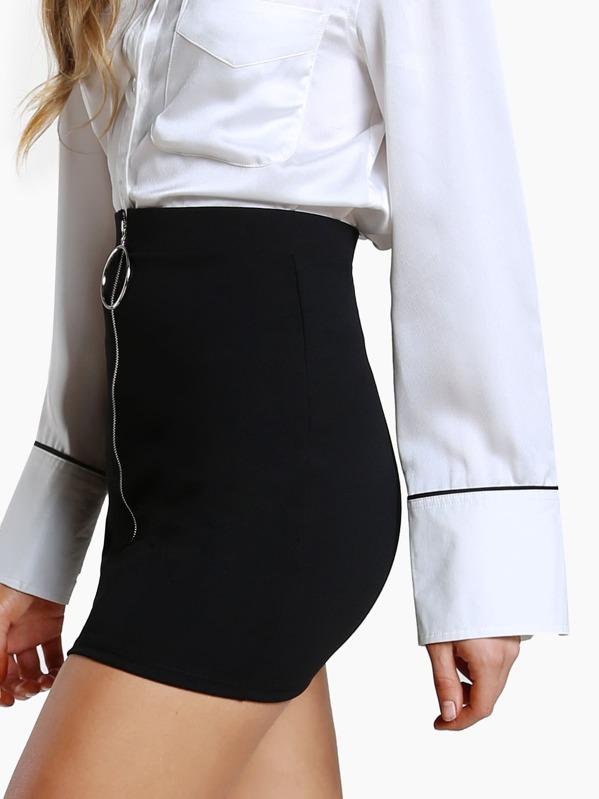 2d568092f2 O Ring Zipper Front Skirt BLACK | SHEIN