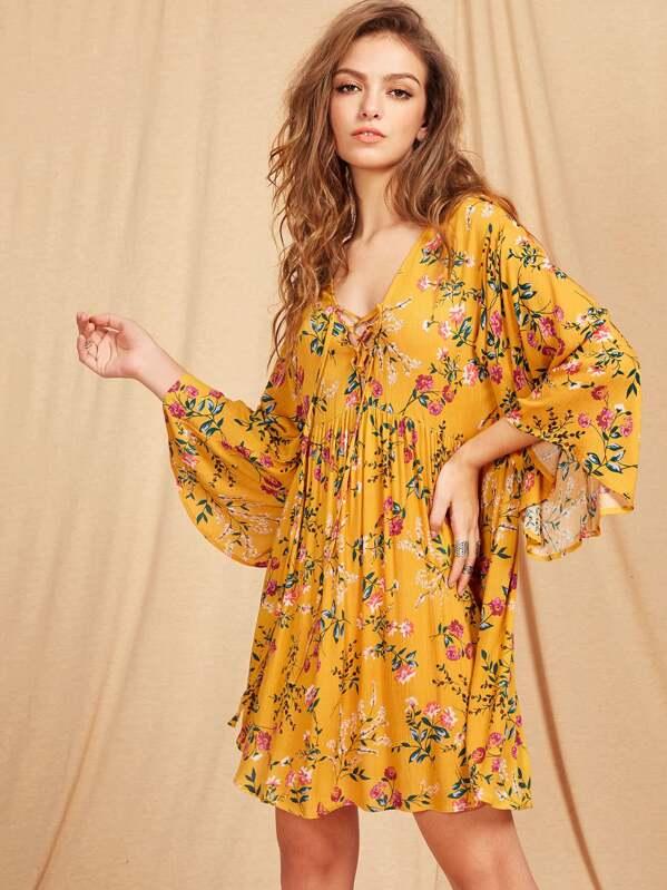 699959d25e Lace Up Plunge Neck Kimono Sleeve Botanical Smock Dress | SHEIN IN