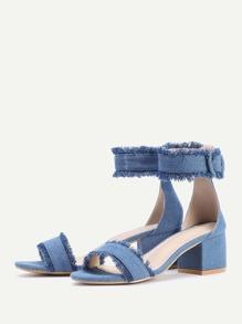 6f0be1c75c3a Cheap Raw Trim Block Heeled Denim Sandals for sale Australia