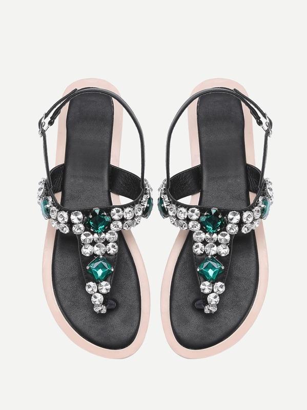 df084fe08 Gemstone Decorated T Strap Sandals -SheIn(Sheinside)