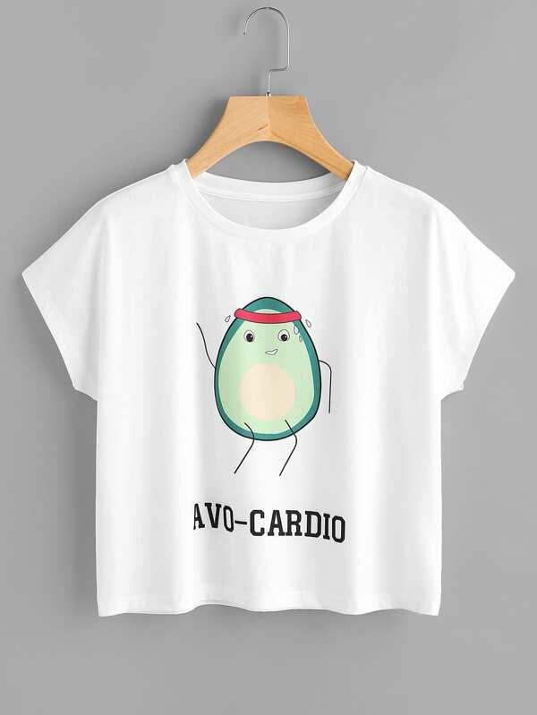 Tee-shirt imprimé de l'animation de avocat & Shorts-French SheIn(Sheinside)