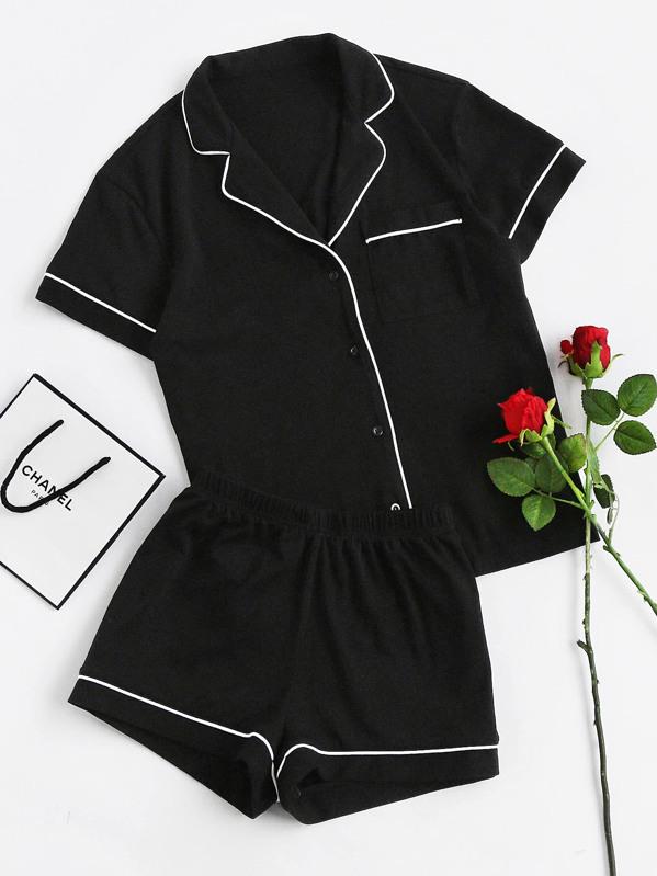 fae5cd3e3e Contrast Piping Pocket Front Pajama Set | SHEIN