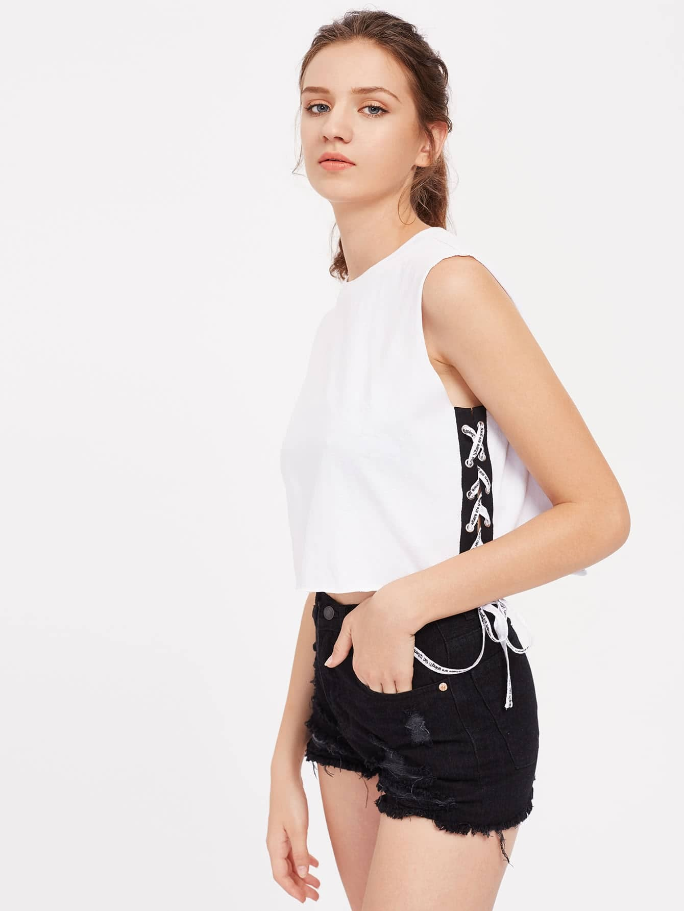Contrast Lace Up Side Raw Edge Tank Top Shein Uk