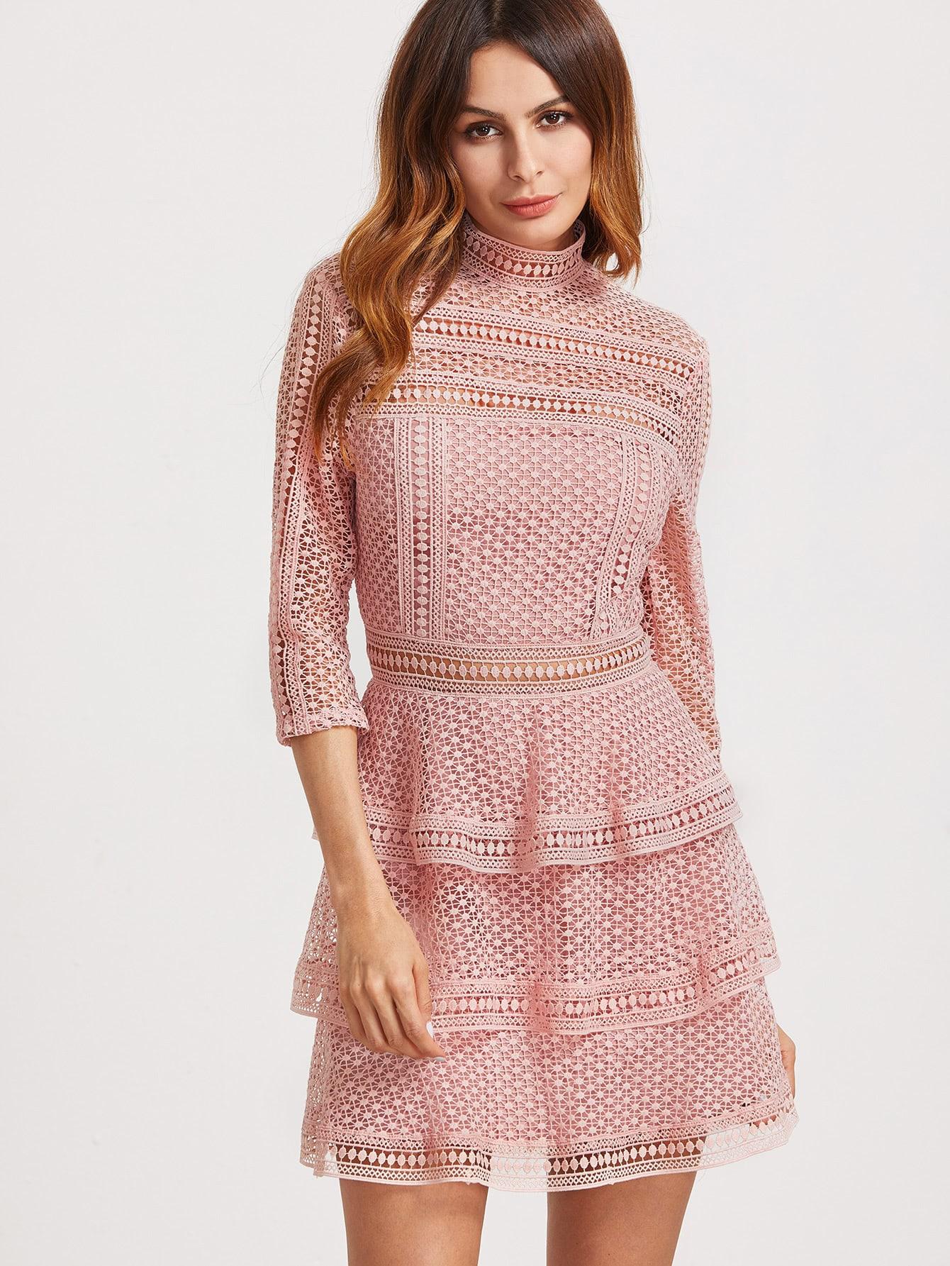 Vestido cuello alto de manga 3/4 de croché - rosa -Spanish SheIn ...