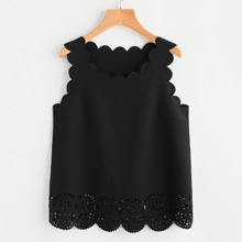 - Scallop Edge Laser Cut Shell Top