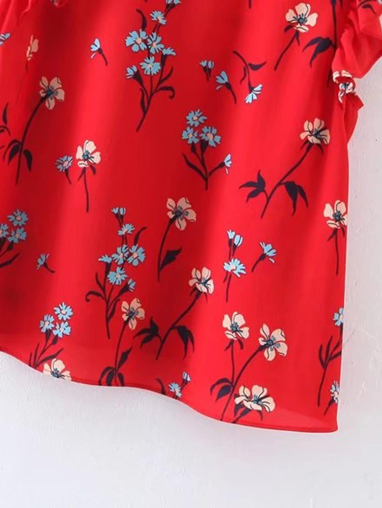 Floral Print Ruffle Trim Tie Back Top