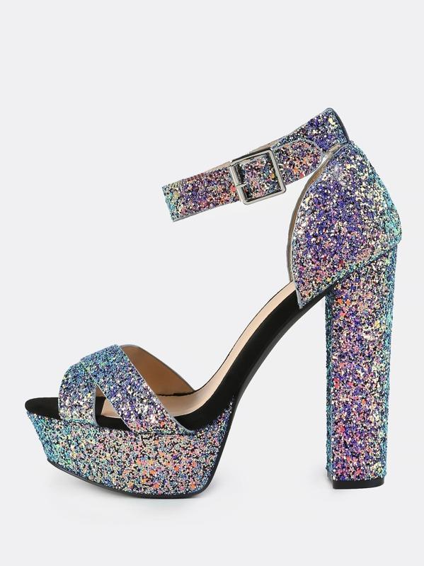 a4749400e698 Iridescent Glitter Platform Heels BLUE