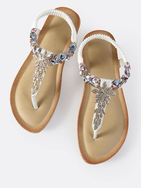 0e84be26a8f5d Crysal Braid Thong Sandals WHITE -SHEIN(SHEINSIDE)