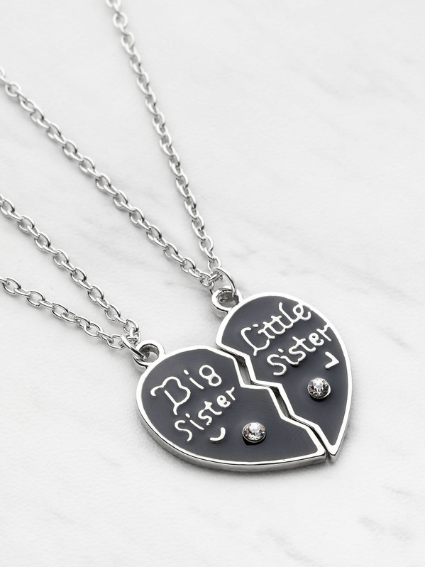 81fe7a9595 Heart Shaped Friendship Necklace 2pcs | SHEIN IN
