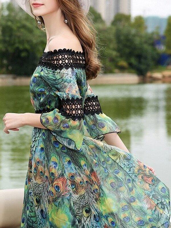 Kleid mit Boot-Ausschnitt Häkeln Muster und Aushöhlen- German SheIn ...
