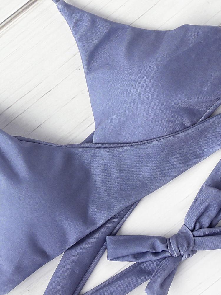 ad9ce25a60 Halter Design Wrap Top With Strappy Bikini Set | SHEIN